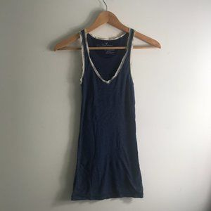 American Eagle Blue Tank Top White Lace Details